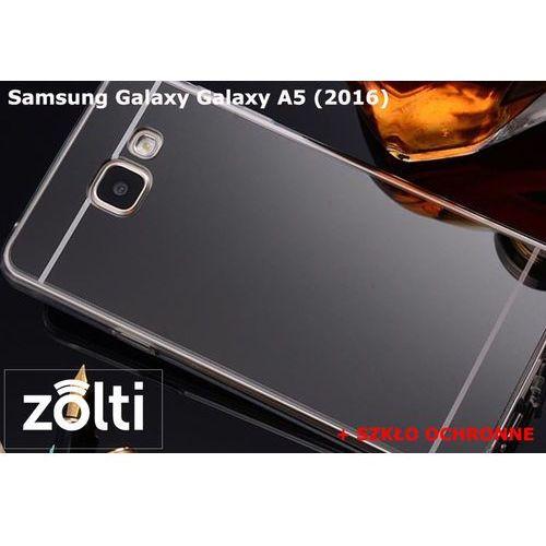 Zestaw   Slim Mirror Case Czarny + Szkło ochronne Perfect Glass   Etui dla Samsung Galaxy A5 (2016)