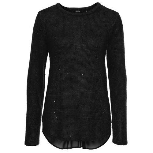 Bonprix Sweter z cekinami i bluzkową wstawką  czarny