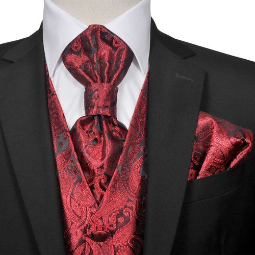Vidaxl męska kamizelka ślubna z kwiatowym wzorem w zestawie rozm. 56 burgund