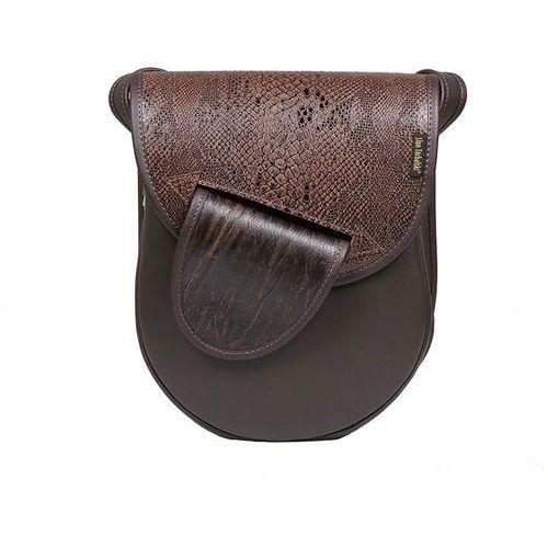 Brązowa torebka listonoszka z wężową klapką marki Słoń torbalski