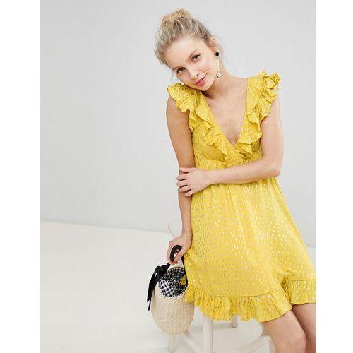 Glamorous Mini Smock Dress With Ruffles In Metallic Fleck - Yellow