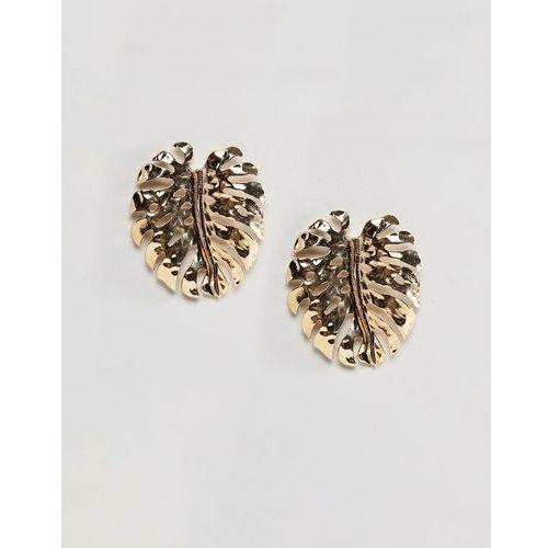 DesignB London Oversized Palm Leaf Gold Earrings - Gold