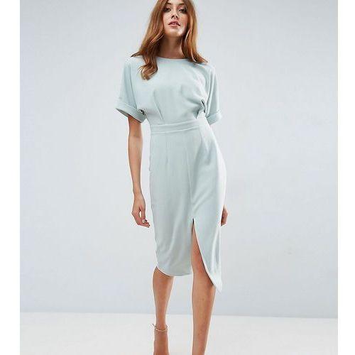 smart woven midi dress with v back - green, Asos tall