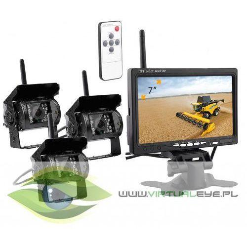 Bezprzewodowy monitor + 3x kamera cofania 12v/24v marki Virtualeye