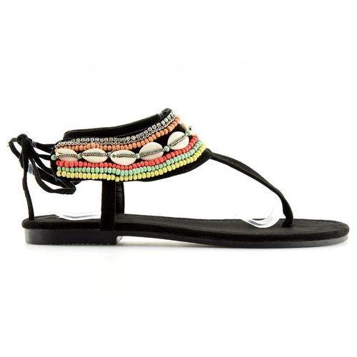 Sandałki z koralikami czarne 8241 black, 1 rozmiar