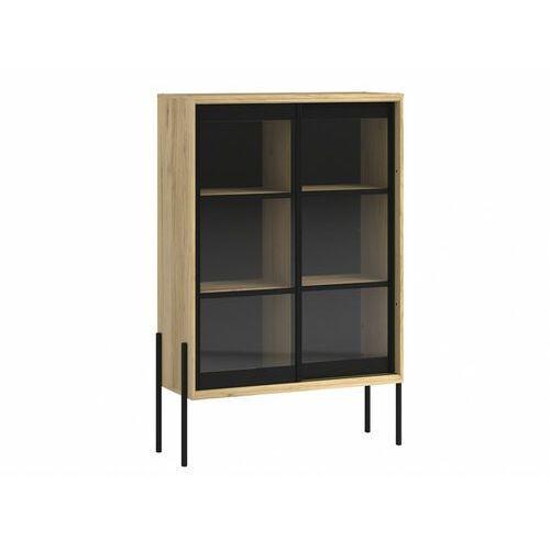 Industrialna witryna MEMPHIS - 2 pary przesuwnych szklanych drzwi - Kolor: dębowy i czarny.