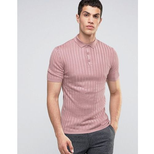 River Island Short Sleeve Muscle Fit Ribbed Polo In Pink - Pink