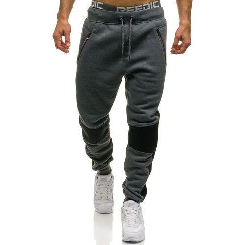 Spodnie męskie dresowe joggery grafitowe Denley 1937, dresowe
