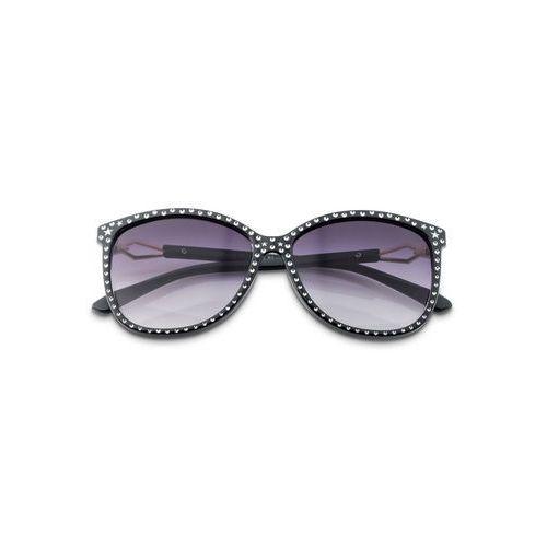 Okulary przeciwsłoneczne z ćwiekami czarno-srebrny kolor marki Bonprix