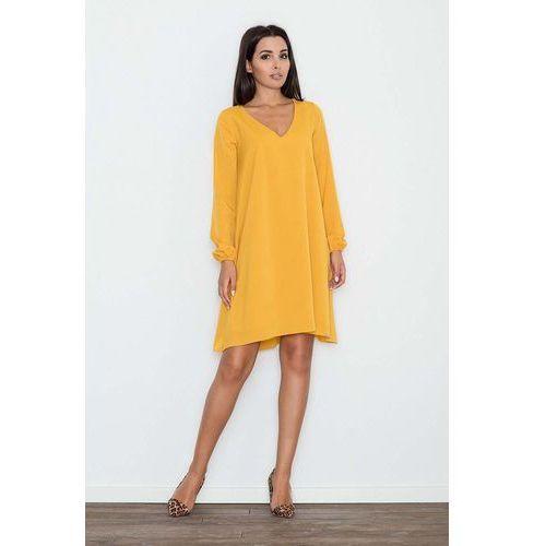 Żółta sukienka trapezowa z długim rękawem, Figl, 36-42