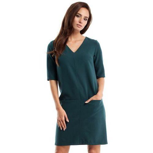 MOE250 Sukienka dwie kieszenie zielona