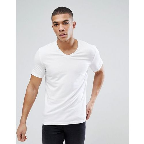 Esprit Organic Muscle Fit V Neck T-Shirt In White - White, kolor biały