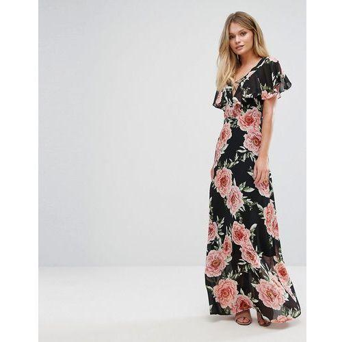 lattice front floral maxi dress - black marki New look