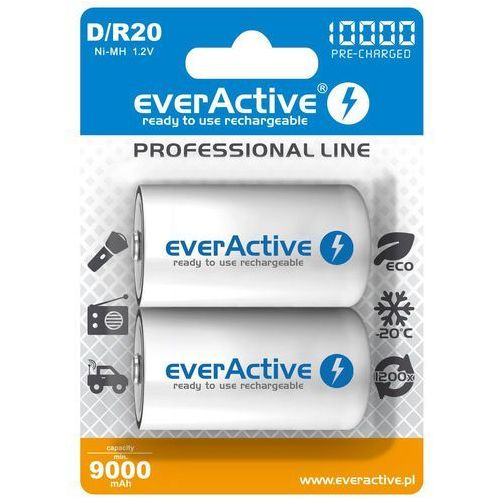 "Everactive 2x r20/d ni-mh 10000 mah ready to use ""professional line"""