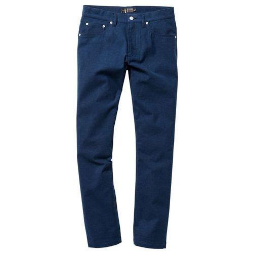 Spodnie z 5 kieszeniami, w optyce flaneli, Regular Fit bonprix ciemnoniebieski melanż, kolor niebieski