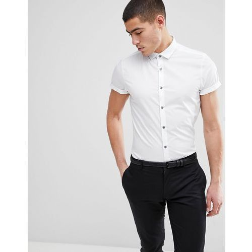 Burton Menswear Skinny Fit Short Sleeve Shirt In White - White, kolor biały
