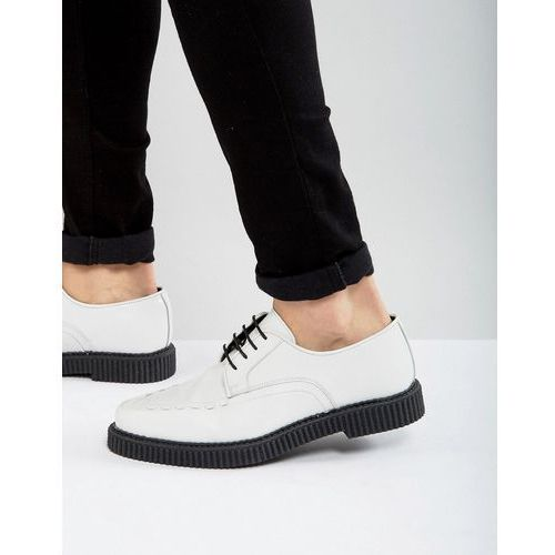 lace up shoes in white leather with creeper sole - white, Asos