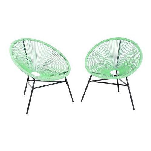 Zestaw 2 krzeseł rattanowych zielone ACAPULCO (7105275350614)