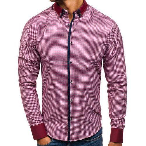 Koszula męska we wzory z długim rękawem bordowa Bolf 8806