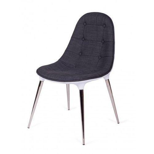 King home Krzesło passion tkanina szaro-białe - włókno szklane, nogi chromowane