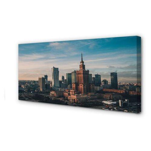 Obraz na płótnie Warszawa Wieżowce panorama wschód słońca