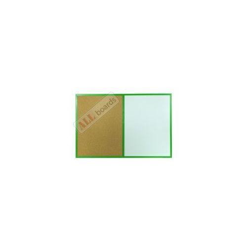 Tablica suchościeralna magnetyczna i korkowa kombi 90x60 cm rama drewniana zielona marki Allboards