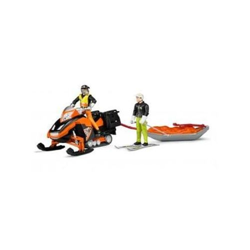 Bruder snowmobil with driver akia rescue sledge and skier