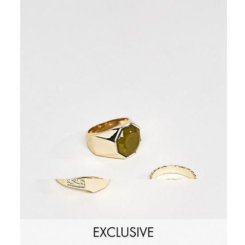 Designb london Designb signet & band rings in 3 pack exclusive to asos - gold