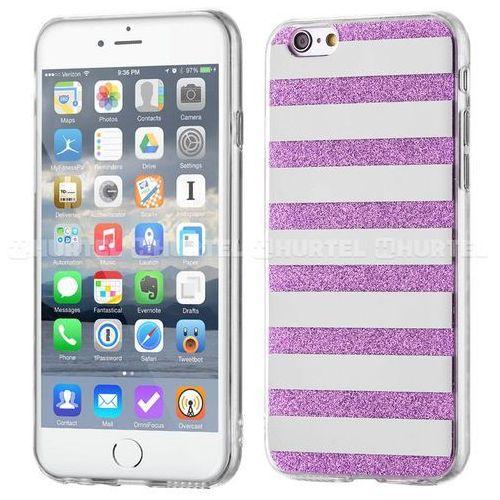 WOZINSKY żelowy pokrowiec Shiny Case brokat iPhone 6S 6 paski fioletowy - Fioletowy - sprawdź w wybranym sklepie