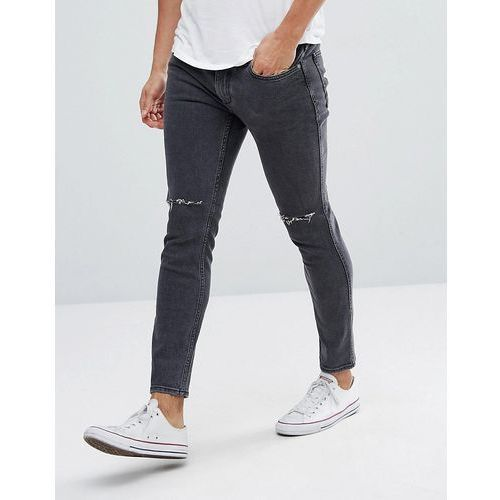 Mango Man Skinny Jeans With Rips In Washed Black - Black, skinny