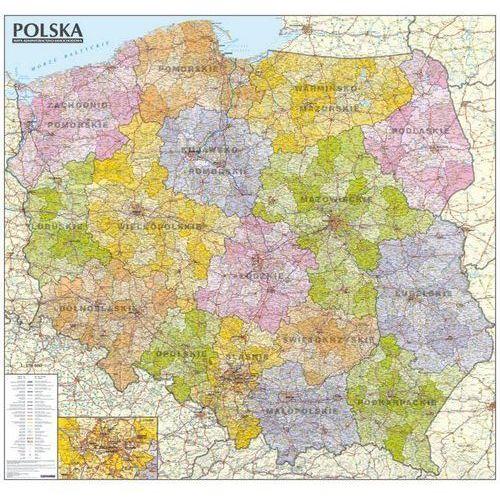 Polska. Mapa administracyjno-samochodowa (tuba) laminowana mapa ścienna w skali 1:570 000, praca zbiorowa