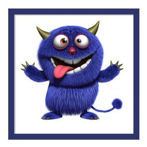 Obraz 20 x 20 cm Niebieski potworek granatowa ramka
