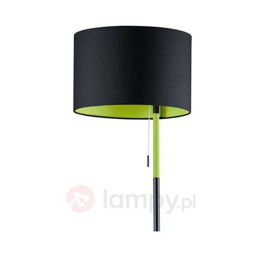Trio leuchten Czarno-zielona lampa stojąca landor, tkanina (4017807273946)