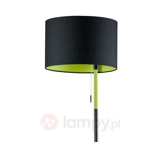 Trio leuchten Czarno-zielona lampa stojąca landor, tkanina