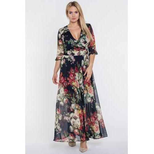 Gapa fashion Czarna sukienka maxi w kwiaty -