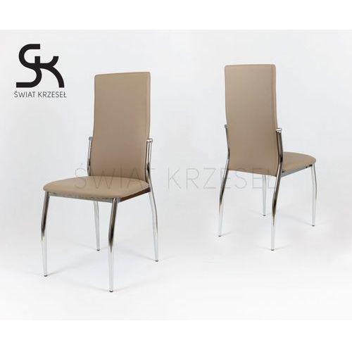 ks004 beżowe krzesło z ekoskóry na stelażu chromowanym - beżowy marki Sk design