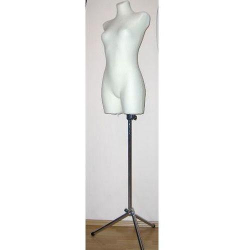 Manekin krawiecki - tors kobiecy długi ecru - rozmiar 38/40 na metalowym trójnogu., 00140