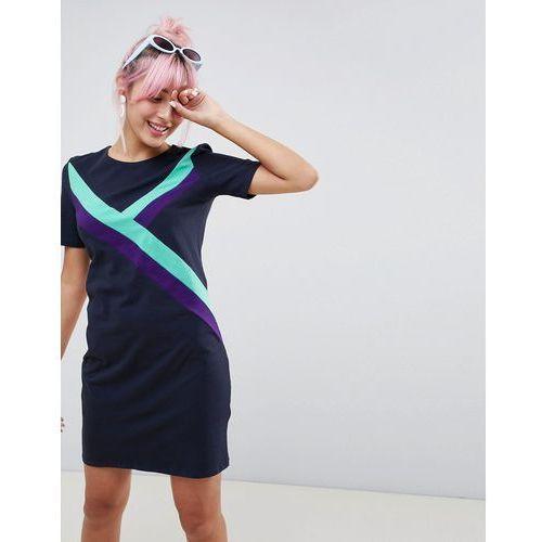 Monki Sporty Stripe Dress - Navy