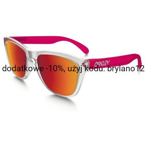 Oakley Okulary frogskins colorblock matte clear transparent pink torch iridium oo9013-b3