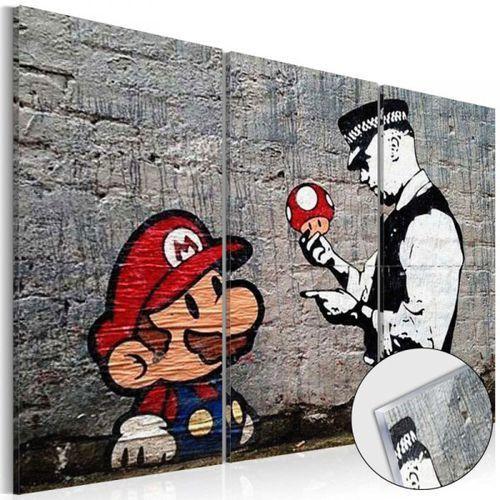 Obraz na szkle akrylowym - Super Mario Mushroom Cop by Banksy [Glass]