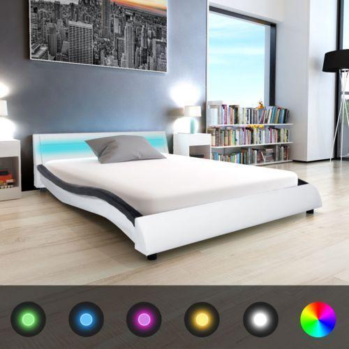 Vidaxl  łóżko ze sztucznej skóry z materacem i pasem led 140x200 cm czarne białe (8718476000814)