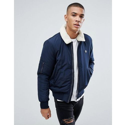 aviator jacket with borg collar - navy, Le breve