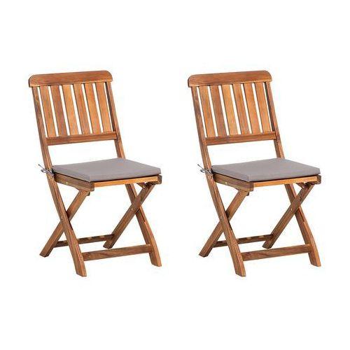 Zestaw do ogrodu 2 krzesła brązowe drewniane CENTO (4260586353372)