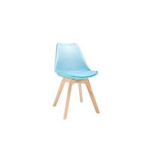 MODESTO krzesło NORDIC niebieskie - podstawa bukowe, kolor niebieski