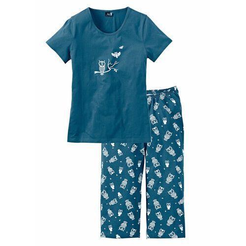 Bonprix Piżama z krótkim rękawem i spodniami 3/4 niebieskozielony - biały