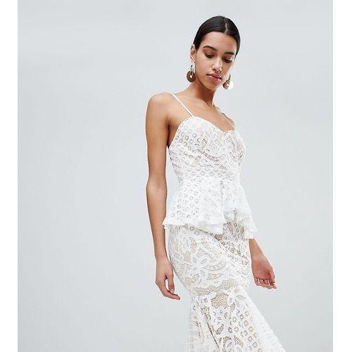 Boohoo lace peplum midi dress - white