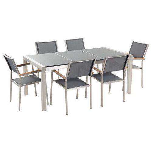 Meble ogrodowe - stół granitowy 180 cm szary polerowany z 6 szarymi krzesłami - GROSSETO (7081451046734)