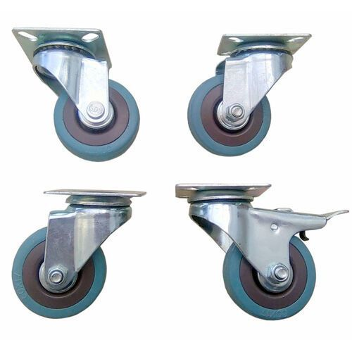 Zestaw kół fi 50 mm 3 szt. skrętne i 1 szt. skrętna z hamulcem, gumowe.