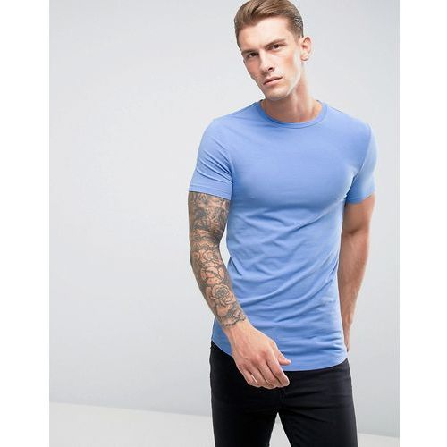 longline muscle fit t-shirt with crew neck and curve hem in blue - blue marki Asos