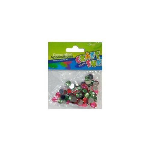 Kryształki dekoracyjne okrągłe różowo-zielone (5901350295519)